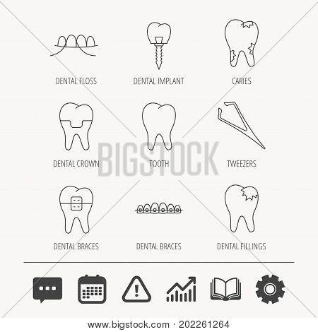 Dental implant, floss and tooth icons. Braces, fillings and tweezers linear signs. Caries icon. Education book, Graph chart and Chat signs. Attention, Calendar and Cogwheel web icons. Vector