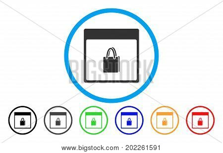 Shopping Bag Calendar Page vector rounded icon. Image style is a flat gray icon symbol inside a blue circle. Additional color variants are grey, black, blue, green, red, orange.