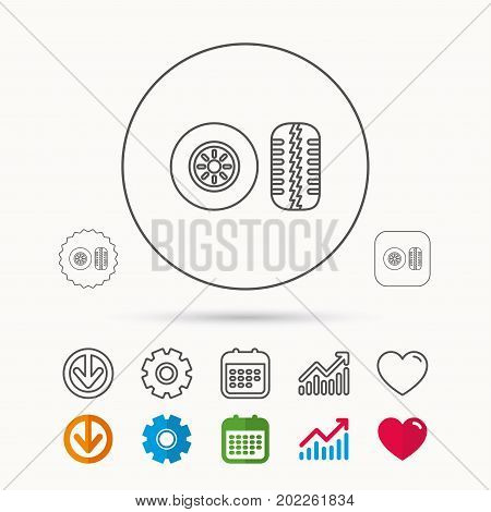 Tire tread icon. Car wheel sign. Calendar, Graph chart and Cogwheel signs. Download and Heart love linear web icons. Vector
