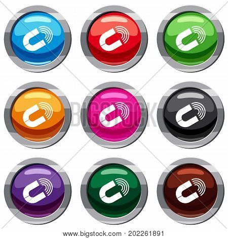 Horseshoe magnet set icon isolated on white. 9 icon collection vector illustration