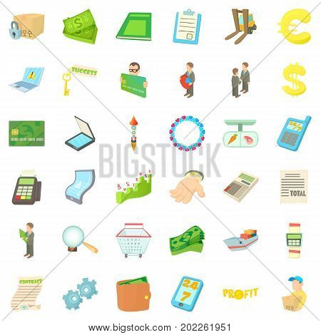 Trade icons set. Cartoon style of 36 trade vector icons for web isolated on white background