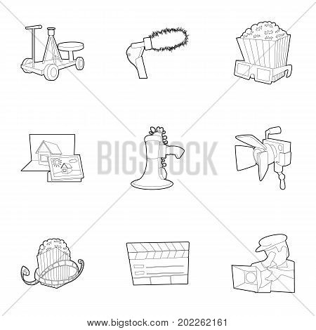 Film creation icons set. Outline set of 9 film creation vector icons for web isolated on white background