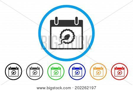 Sperm Insemination Calendar Day vector rounded icon. Image style is a flat gray icon symbol inside a blue circle. Additional color versions are grey, black, blue, green, red, orange.