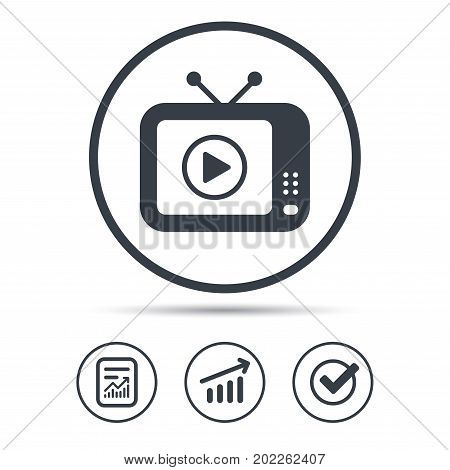 TV icon. Retro television symbol. Report document, Graph chart and Check signs. Circle web buttons. Vector