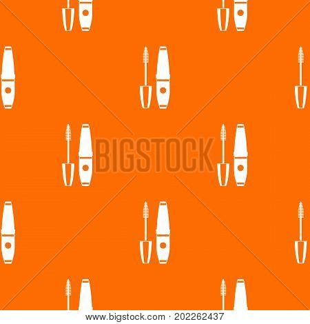 Mascara, mascara brush pattern repeat seamless in orange color for any design. Vector geometric illustration