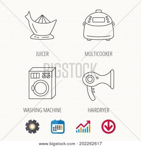 Washing machine, multicooker and hair dryer icons. Washing machine linear sign. Calendar, Graph chart and Cogwheel signs. Download colored web icon. Vector