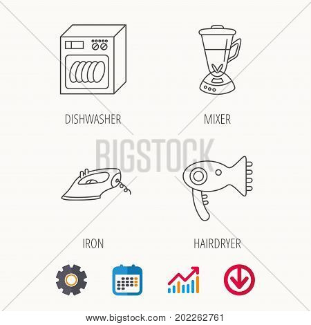 Dishwasher, hairdryer and mixer icons. Iron linear sign. Calendar, Graph chart and Cogwheel signs. Download colored web icon. Vector
