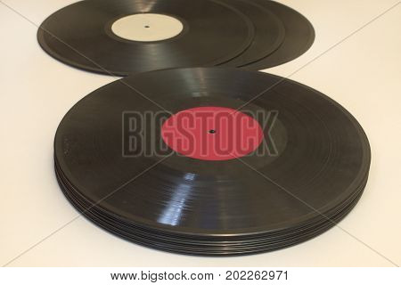 The Vinyl records laid in a stack