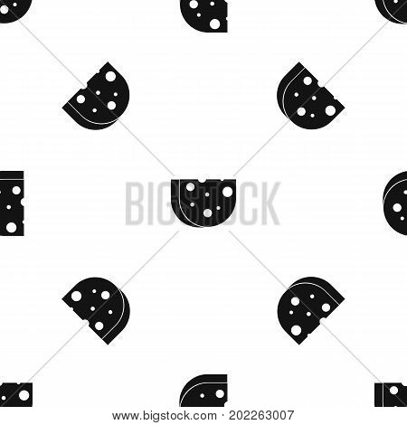 Piece of Swiss cheese pattern repeat seamless in black color for any design. Vector geometric illustration