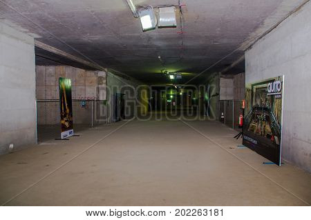 Quito, Pichincha Ecuador - August 27 2017: Indoor view of the metro construction located inside of the Bicentenario park, at north part of the city of Quito.