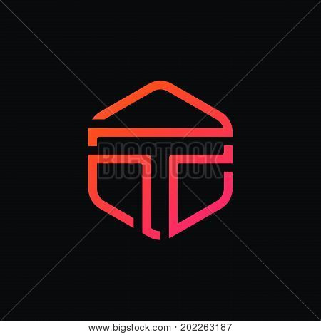 Clean T Letter Sign Hexagon Linear Logo Icon Vector Design.