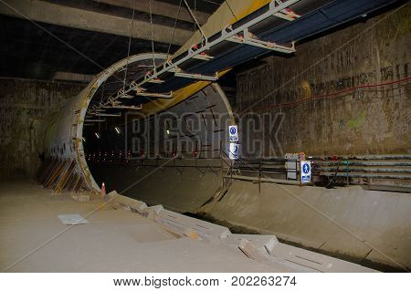 Quito, Pichincha Ecuador - August 27 2017: Indoor view of the tunnel of the metro construction located inside of the Bicentenario park, at north part of the city of Quito.