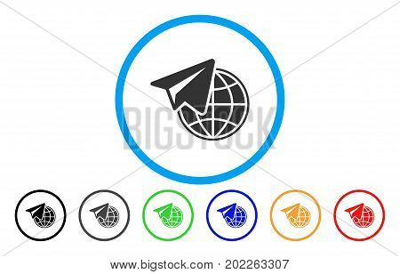 Freelance vector rounded icon. Image style is a flat gray icon symbol inside a blue circle. Additional color variants are gray, black, blue, green, red, orange.