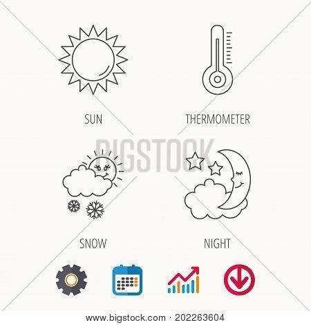 Thermometer, sun and snow icons. Moon night linear sign. Calendar, Graph chart and Cogwheel signs. Download colored web icon. Vector