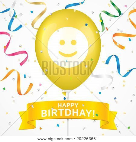 Smile printed yellow ballon with ribbon and colorfull confetti on a white background. Birthday greeting card vector design.