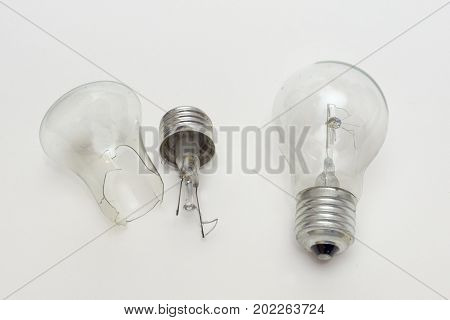 Burned Out Bulb Near The Split In Half Incandescent Lamp