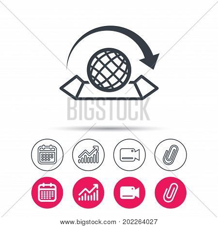 World map icon. Globe with arrow sign. Travel location symbol. Statistics chart, calendar and video camera signs. Attachment clip web icons. Vector