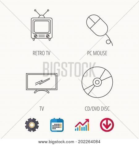 Retro TV, PC mouse and DVD disc icons. Widescreen TV linear sign. Calendar, Graph chart and Cogwheel signs. Download colored web icon. Vector