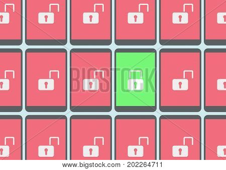 Concept of hacking mobile devices as vector illustration