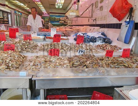 China Town in New York City - June 20 2017 - Vendors selling seafood along the streets of China Town