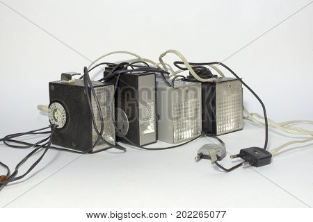 Set Of Vintage Electronic Pulse Camera Flash With Hot Shoe