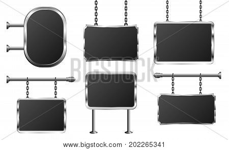 Signboard hang plate frame metal chain vector set