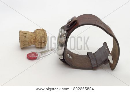 Set Of Men Watch On Leather Strap, Champagne Cork And Plastic Flint Holder With Red Wheel