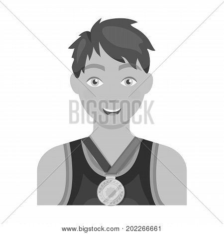 Athlete awarded a gold medal. Sport and reward single icon in monochrome style vector symbol stock illustration .