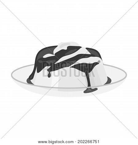 Delicious, creamy-chocolate dessert. Dessert single icon in monochrome style vector symbol stock illustration .