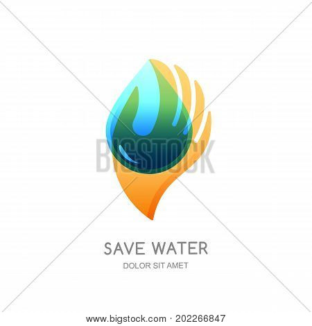 Save Water Vector Logo Design Template. Abstract Transparent Water Drop Shape In Human Hand.