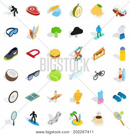 Trophy icons set. Isometric style of 36 trophy vector icons for web isolated on white background