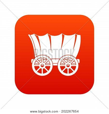 Ancient western covered wagon icon digital red for any design isolated on white vector illustration