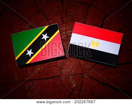 Saint Kitts And Nevis Flag With Egyptian Flag On A Tree Stump Isolated