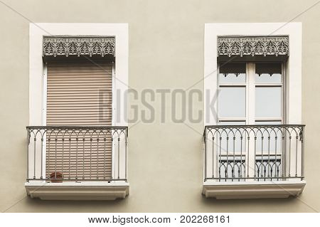 Typical Building Facade In The Center Of Grenoble, France