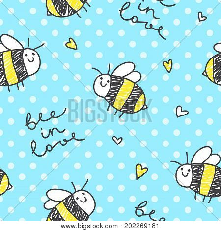 cute hand drawn bees and lettering, bee in love, seamless pattern