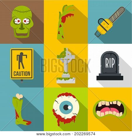 Zombie teritory icon set. Flat style set of 9 zombie teritory vector icons for web design