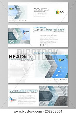 Social media and email headers set, modern banners. Business templates. Easy editable abstract design template, vector layouts in popular sizes. Minimalistic background with lines. Gray color geometric shapes forming simple beautiful pattern.