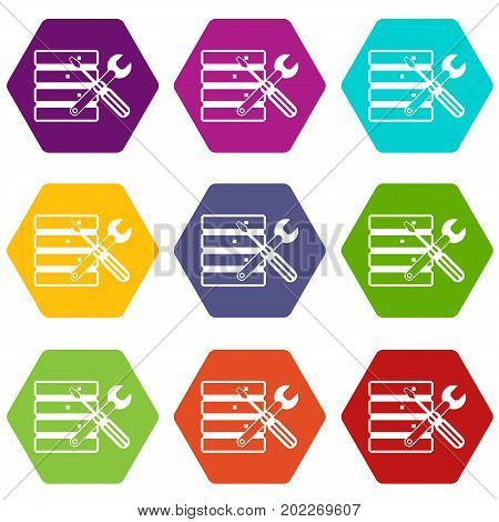 Database with screwdriverl and spanner icon set many color hexahedron isolated on white vector illustration