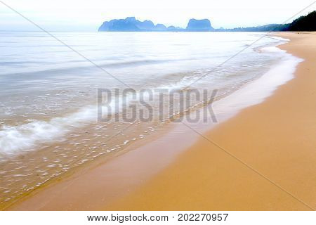 The beach Bang Boet Beach after the rain Chumphon Province Thailand is famous for travel