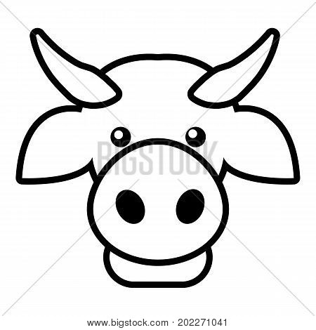 Cow head icon. Outline illustration of cow head vector icon for web design isolated on white background