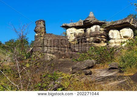 Mushroom stone beauty and background at Phu Pha thoep National Park Mukdahan county ofThailand
