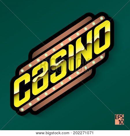 Casino - golden emblem or logo. Stock illustration EPS10