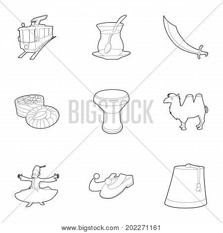 Turkey culture icons set. Outline set of 9 turkey culture vector icons for web isolated on white background