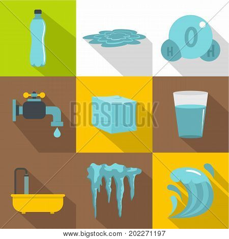 Water natural form icon set. Flat style set of 9 water natural form vector icons for web design