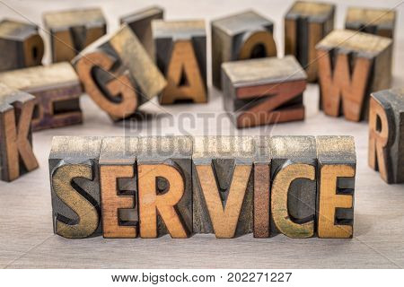 service word abstract in vintage letterpress  printing blocks against grained wood