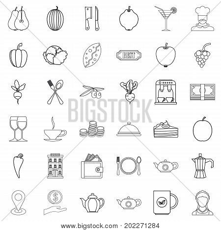 Pepper icons set. Outline style of 36 pepper vector icons for web isolated on white background