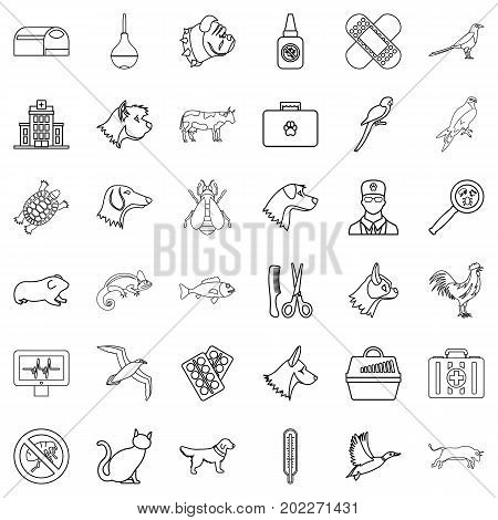 Veterinary icons set. Outline style of 36 veterinary vector icons for web isolated on white background