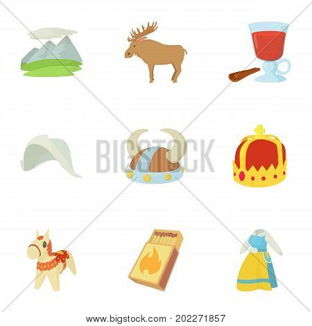 Rural life icons set. Cartoon set of 9 rural life vector icons for web isolated on white background
