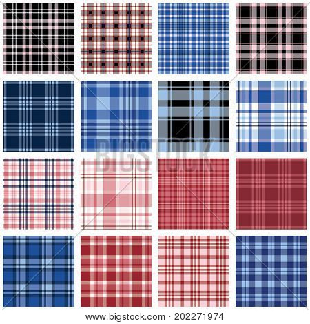 Plaids - 16 seamless plaid patterns for digital paper, scrapbooking, invitations, announcements, gift wrap, backgrounds, borders and more.