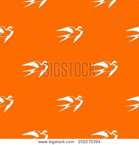 Barn swallow pattern repeat seamless in orange color for any design. Vector geometric illustration